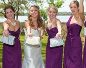 Bridesmaid Gift Custom Silk Silver Purple Wedding Bags Customize Your Own Set Clutch Purse Personalized Bridal Party Handbags Clutch