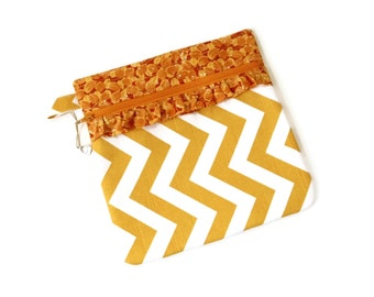 Zipper pouch bag, chevron mustard yellow, project bag, craft storage case, cosmetics bag, makeup bag, travel pouch, needlework cross stitch