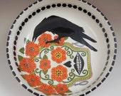Raven and skull bowl