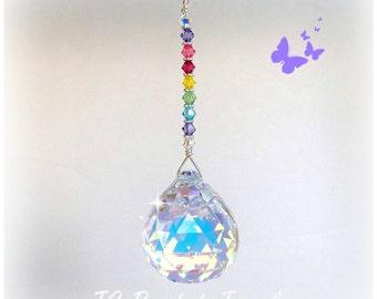 Pastel Rainbow Swarovski Crystal Suncatcher, Rearview Mirror Car Charm Prism, Window Hanging Crystal, Fan Pull,  Light Chain Pull