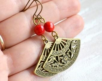 Coral earrings Red boho earrings Bohemian jewelry Red Fan earrings Rustic earrings Gypsy jewelry Christmas gift for her Dangle earrings