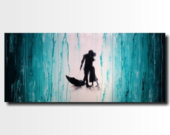 Large Abstract paintings - 24 X 54 -Art -by Artist JMJartstudio- -Wall art-wall decor -Stories Told- FREE US Shipping-Silhouette Painting