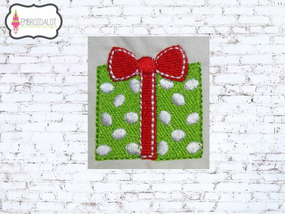 Christmas gift machine embroidery design mini by