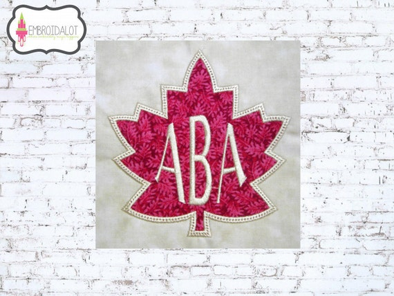 Fall monogram frame applique design. 6 sizes! Leaf embroidery for fall. Thanksgiving applique text frame. Leaf applique embroidery.