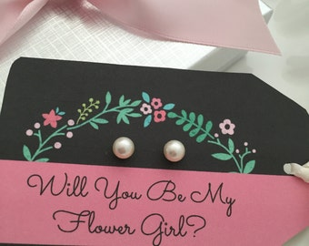 Will You Be My Flower Girl earrings, girls pearl earrings 6mm Swarovski,  flower girl gift, flower girl jewelry