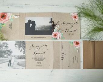 Bohemian Rustic Style Wedding Invitations - Tri-Fold - UNIQUE All-In-One Design - kraft paper - (192)