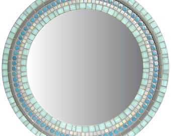 Round Wall Mirror - Green, Blue, Gray Mosaic