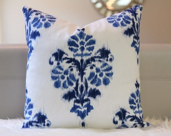 """NEW! 16x16"""" Ikat Blue by Duralee pillow cover, ikat blue pillow cover, bohemian style, boho pillow, damask print"""