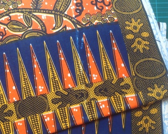 African orange and blue cotton print fat quarter