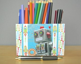 Pencil Cup With Retro Tin Robot, Desk Accessories, Dorm Decor
