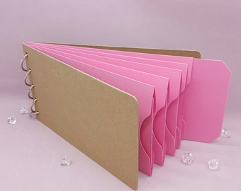 """Pink Shades, Pocket Tag, Chipboard Album, Size 8-1/4"""" x 4-1/4"""", Scrapbooking, Memory Keeping, Photo Album, Kraft Covers, Breast Cancer"""