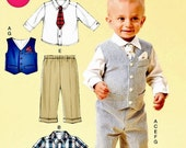 Toddler Boy's Sunday Suit Pattern, Infants' Lined Vest and Pants Pattern, Sz 8 to 29 lbs, McCall's Sewing Pattern 6873