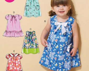 Toddlers' Dress Pattern, Little Girls' Easy Dress Pattern,  Sz 1 to 4,  McCall's Sewing Pattern 7308