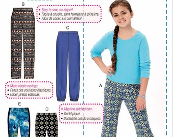 Tween Girls' Learn to Sew Pants Pattern, Elastic Waist Pants Pattern, Girls' Leggings Pattern, McCall's Sewing Pattern 7426