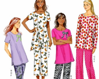 Ladies Pajama Pattern, Ladies Loungewear Pattern, House Slippers Pattern, Butterick Sewing Pattern 5829