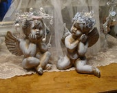 Altered Cherubs Santos - Crowned Angels - Hand Painted Cherubs - Farmhouse French Country Chic - Home Decor
