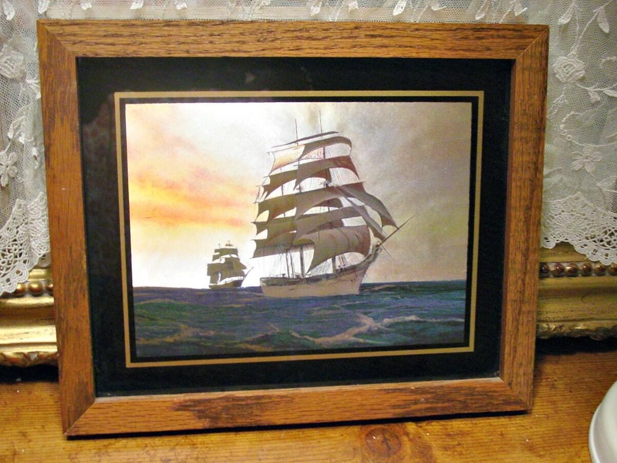 Wall Art Black Gold : Foil clipper ship wall art black gold glass frame