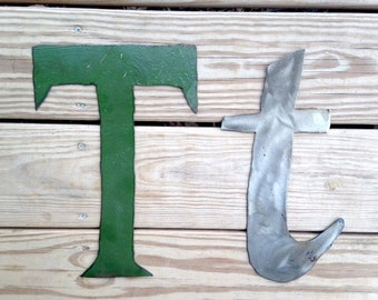 Large Metal Uppercase T and Lowercase T Letters - Studio Sale
