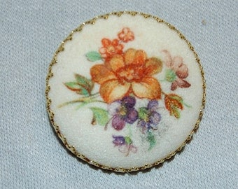 Vintage / Signed / Brooch / West Germany / Flowers / Sugar / Sand / Coated / Old / jewelry jewellery