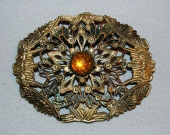 Vintage / Victorian / Antique / C Clasp / Brooch / Amber / Cabochon / Sash /  Pin /  Old Jewelry