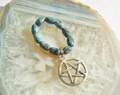 Blue Laguna Lace Agate Pentacle Ring Size 7