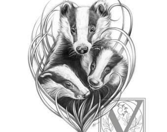 Badger Print - Badger Art - Mum and her Babies - Limited Edition Giclée Archival Print - Wildlife Art