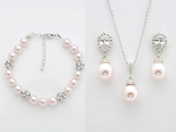 Bridal jewelry set blush pink bridal earrings necklace set for Pink wedding jewelry sets