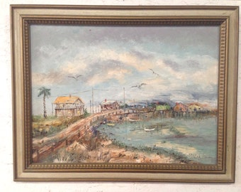 Original Oil Painting Cedar Key Florida Vintage Landscape Seascape Painting The Cedar Keys Florida