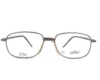 vintage 90s deadstock eyeglasses frames eye glasses eyewear optical rectangle rectangular matte gunmetal pewter metal black plastic new 117