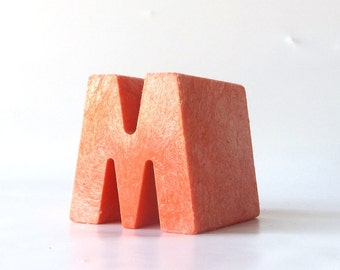 vintage 1970's red letter M uppercase tuff stuff composition composite plastic decorative home decor retro personalized initial standing old