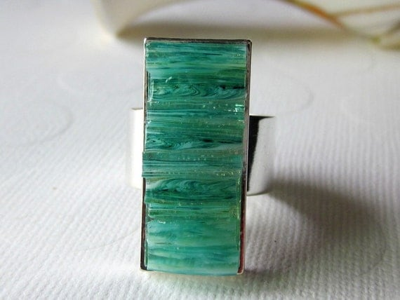 Aqua Mosaic Ring Stained Glass Ring Long Rectangle Ring Blue Marbled Ring Wide Band Ring Aquamarine Inlay Ring Chunky Glass Ring Statement