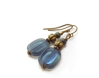 Slate Blue Boho Dangle Earrings - Czech Glass Rectangles - Antiqued Bronze - Midnight Blue Everyday Earrings
