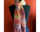 Rainbow Colored Scarf, Waffle Knit, Long, Soft (Unisex)