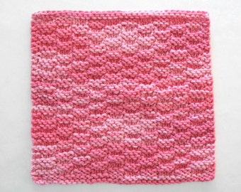 Knit Dishcloth, Cotton Washcloth, Pink Knitted Washcloth, Face Wash Cloth, Pink Kitchen Decor