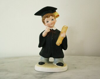 Vintage Hand Painted Lefton China Graduate Boy With Kindergarten Graduation Gift Figurine