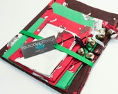 "Holiday / Christmas Gift Bags Set Drawstrings with Jingle Bells - Eco-Friendly & Reusable - ""Sock Monkey Santa Claus"""
