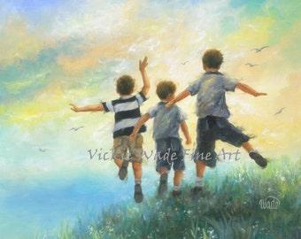 Three Brothers Leaping Art Print boys room wall art three boys paintings, Vickie Wade art