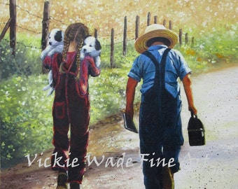 Country Kids Original Oil Painting 12X16 boy and girl, brother and sister, paintings amish children and puppies, original, Vickie Wade art
