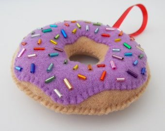 Purple - Blueberry Glazed Donut Ornament With Sprinkles