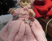 Vintage Doll Hand Crocheted pink Dress  white lace   & Pantaloons