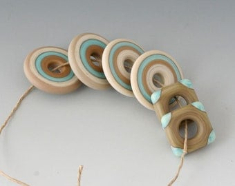 Southwest Disk Pairs- (6) Handmade Lampwork Beads - Sage, Mint - Etched, Matte