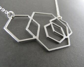 hexagon necklace, hexagon jewelry, geometric necklace, geometric jewelry