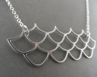waves necklace, waves charm, japanese patterns, waves jewelry, fish scale pattern