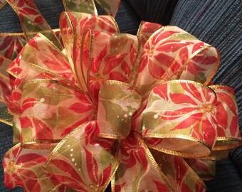Tree Topper Bow Pointsettia Red Lime Green Swirls Gift Box Wreath Wall Decor Christmas New Year Mantel Decor Wedding Tree Topper