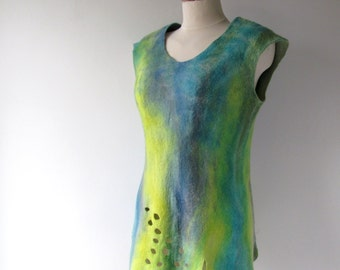 Felted top women wool vest  women felted blouse  Blue yellow felted top seamless blue yellow  women vest  by Galafilc