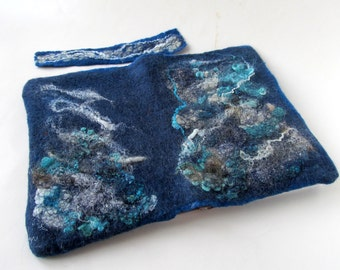 Felted journal cover, Original felt cover, Felt notebook cover,   Blue sea, personal journal cover, personal gift  gift under 25