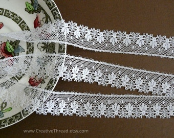 "2 3/4 Yards, English Vintage Heirloom Lace, Delicate Cotton Lace Edge, Doll Lace, Bridal, Lingerie Lace, 3/4"" Wide - White - N108"