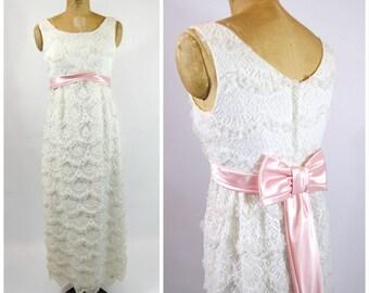 60s White Lace Formal Dress Pink Ribbon Trim - Tiered Lace Dress - White Lace Gown - White Lace Dress