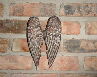 Cast Iron Angel Wings, Wall Decor, Garden Decor, Old World Tuscan Decor, Rustic Wall Decor, Wings, Shabby Chic wall Decor, Home Decor