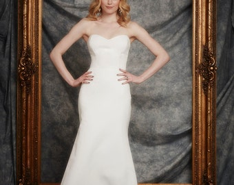 Elliot Wedding Gown, Cotton and Silk Faille, Sweetheart bustier, tailored Mermaid, Fit and Flare Skirt